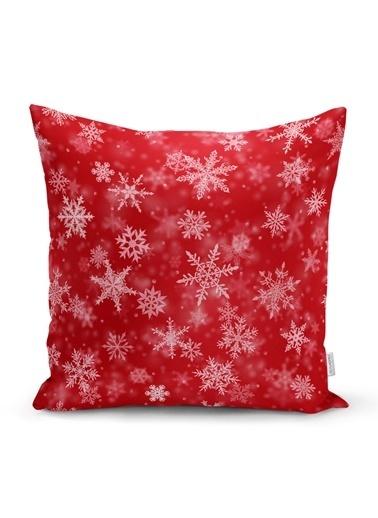 Real Homes Kırmızı Zeminde Kar Taneleri Dekoratif Yastık Kırlent Kılıfı Renkli